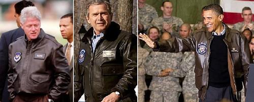 Бил Клинтон, Джордж Буш, Барак Обама в куртках A-2 и G-1